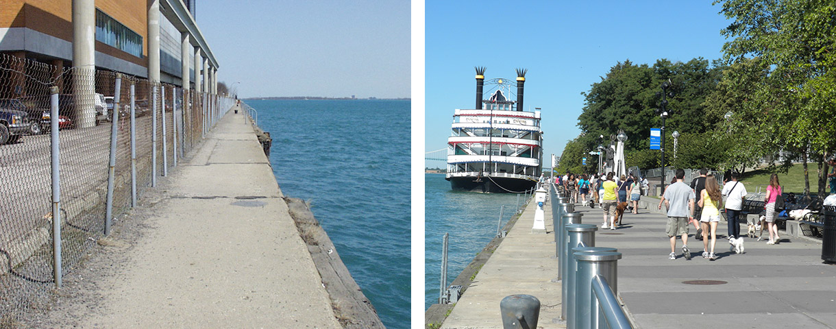 And after photos show you just how far the detroit riverfront has come