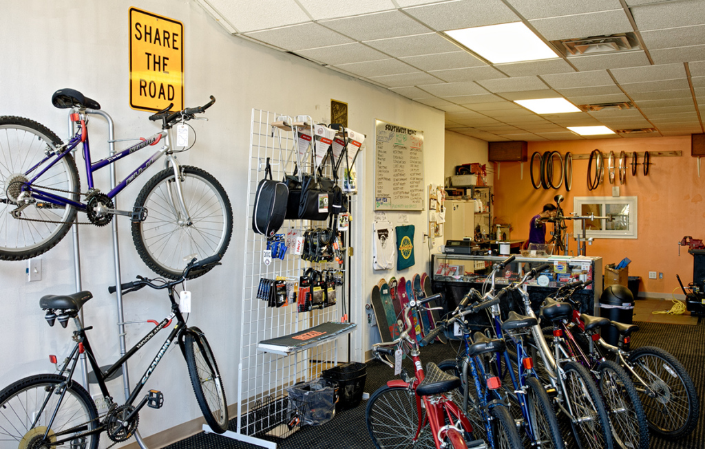 Inside the Southwest Rides store