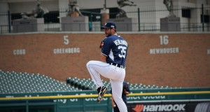 Verland throws some practice pitches at Comerica Park. Photo: Dawn Uhl-Zifilippo