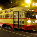 Detroit themed streetcar in San Francisco