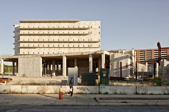 The hulk of an unfinished jail looms over Gratiot. Photo: Nick Hagen