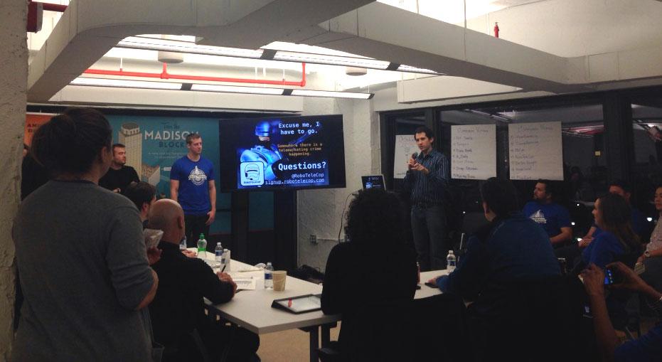 Kloustin presenting at Startup Weekend. Photo courtesy Alyssa Goch