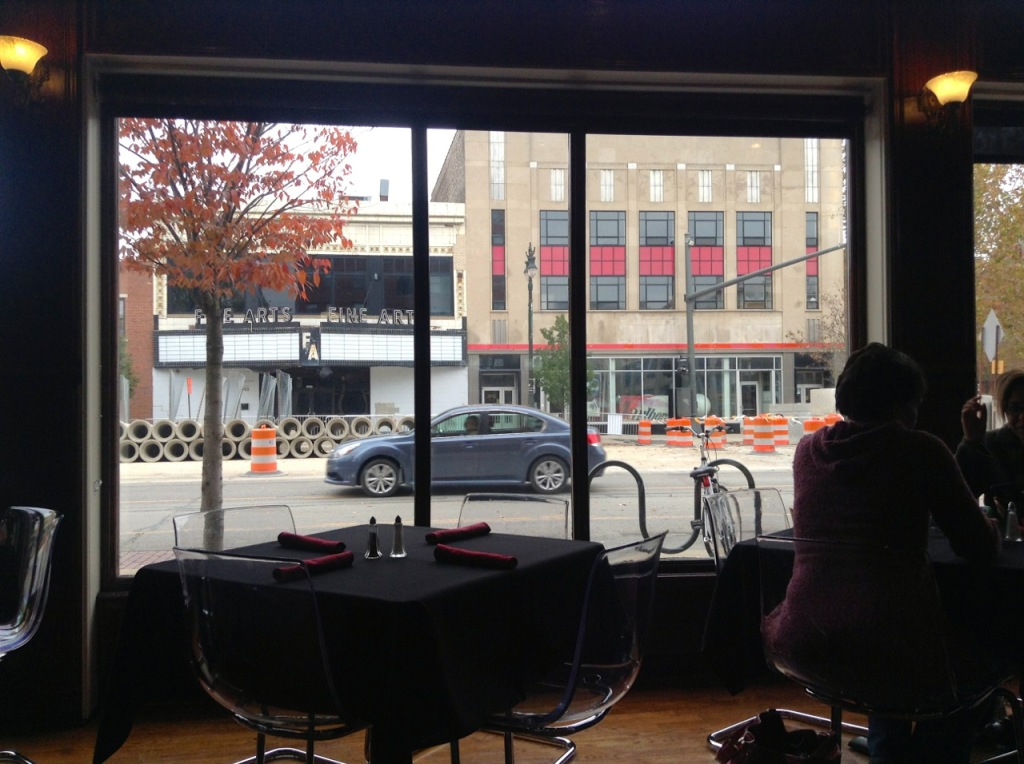 View out the window of the Addison Eatery