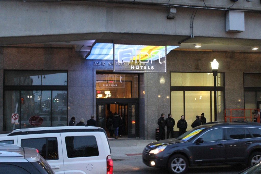 The Detroit Aloft hotel entrance