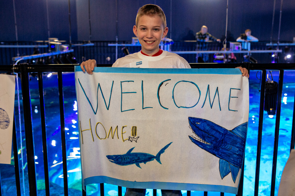Brennen Vechazone, 11 years old, was selected to be part of the Young Enviornmentalists and was invited to the shark unveiling.
