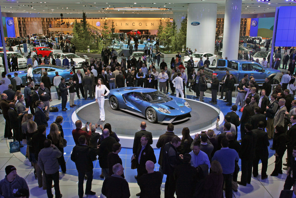 The Ford GT super car was a super star at the 2015 NAIAS, and drew huge crowds of enthusiastic fans throughout the show. (PRNewsFoto/NAIAS)