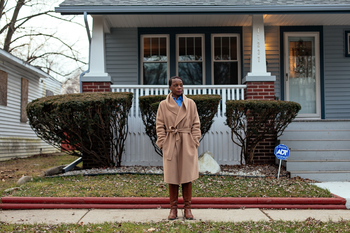 Lola Charles in front of her house on Hayden Street. Photo: Nick Hagen