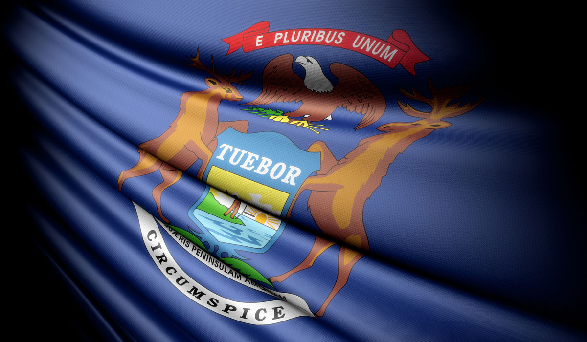 Michigan Flag. Stock Photo. Used With License.