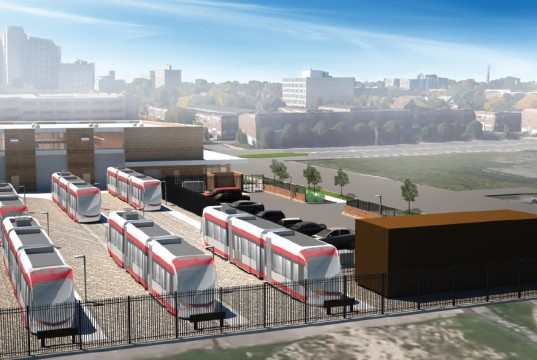 Aerial view of M1-Rail Penske Tech Center. Press Rendering.