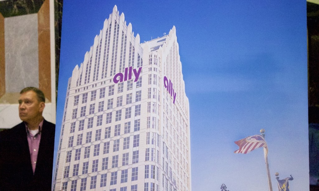 Signage rendering on the newly named Ally Detroit Center as viewed from Woodward.
