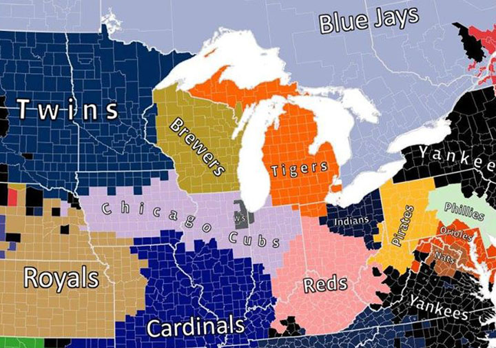 Map shows the detroit tigers own the hearts of almost all of michigan friday april 20 2018 sciox Gallery