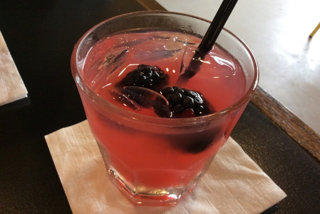 The Bonnie: Bulleit Bourbon, Old Smokey Moonshine, Blackberry simple syrup, Lemon juice
