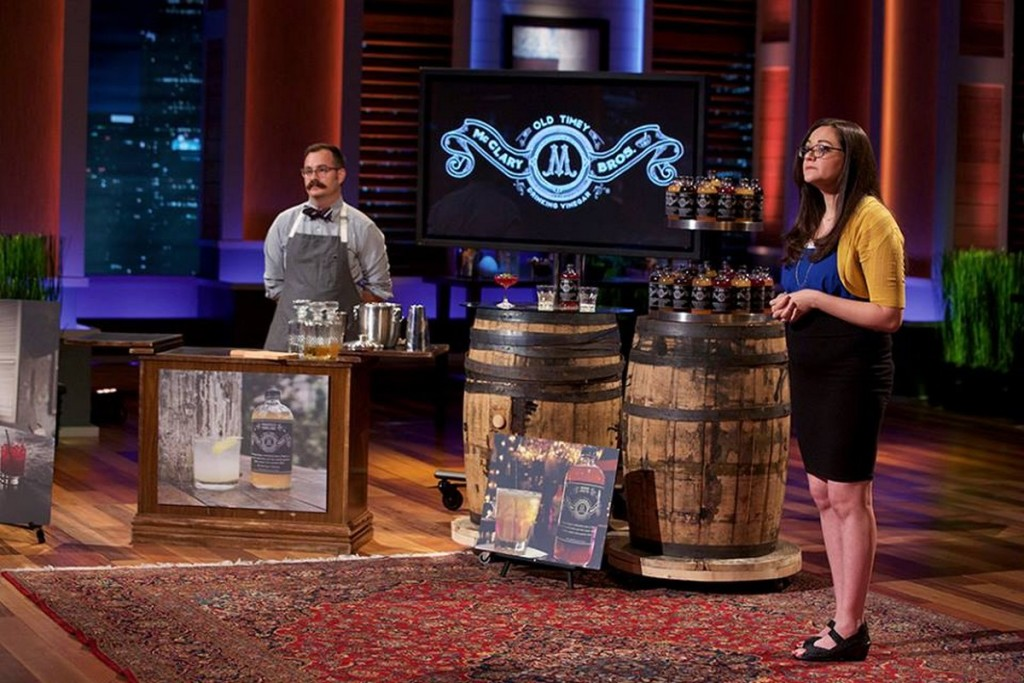 Jess McClary, right, on Shark Tank. Photo Courtesy: McClary Bros. Facebook Page.