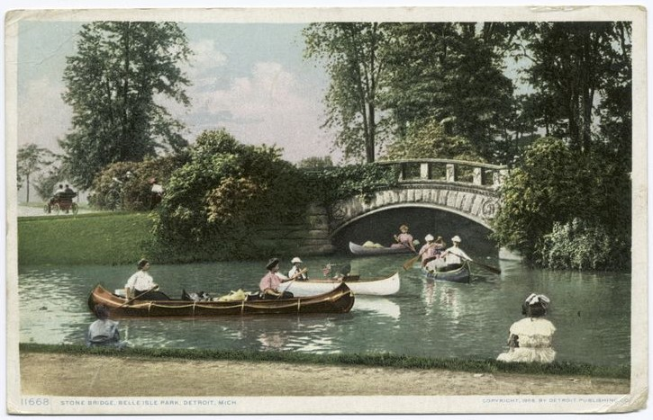 stone-bridge-canoes-postcard-detroit