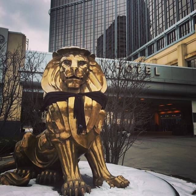 Lion outside of MGM Grand Casino Hotel Detroit.