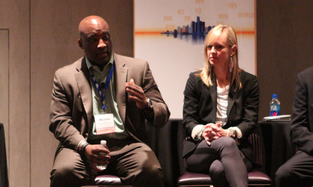 Michael Ford of the Regional Transit Authority (left) and Melissa Roy of Advance Macomb and SMART (right)
