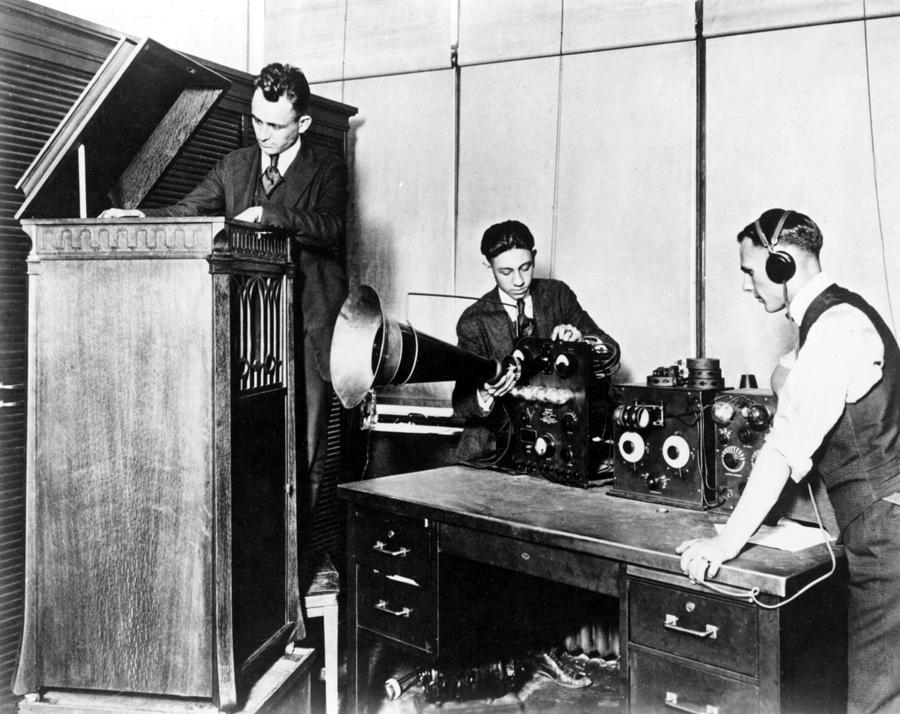 The staff of 8mk detroit radio now wwj testing equipment