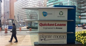 Outside of Quicken Loans HQ in downtown Detroit. Daily Detroit photo.