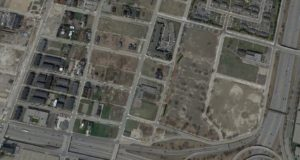 Google Earth view of the former Brewster Projects, just across the freeway from Ford Field.