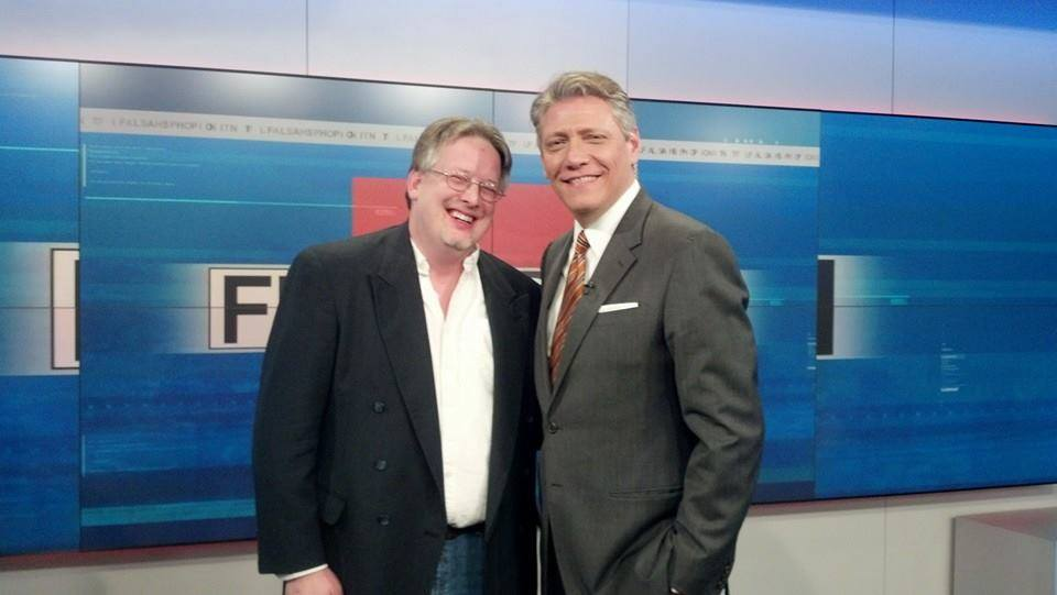 Podcast Detroit Co-Founder Dave Phillips (L) with WDIV and Flashpoint Anchor Devin Scillian (R) - photo via Facebook