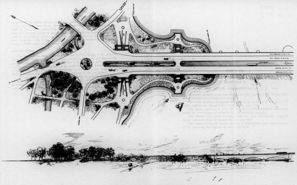 Detail of the plan on Belle Island for rail service.