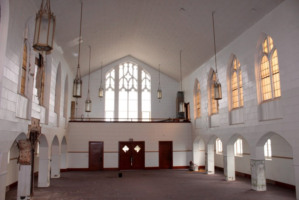 View of venue space, and choir loft