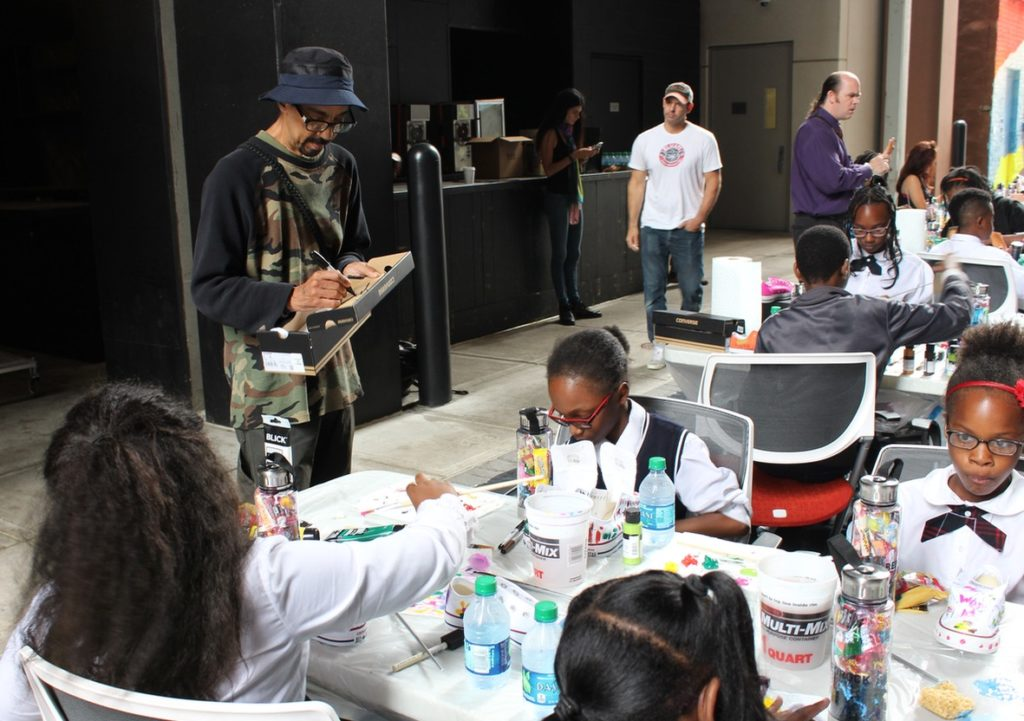 Futura at the Belt working with DAAS students. Daily Detroit photo