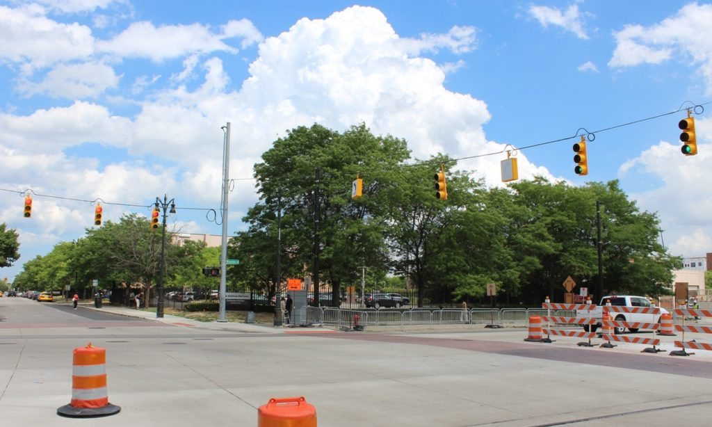 The corner of the talked about development at Mack and Woodward.
