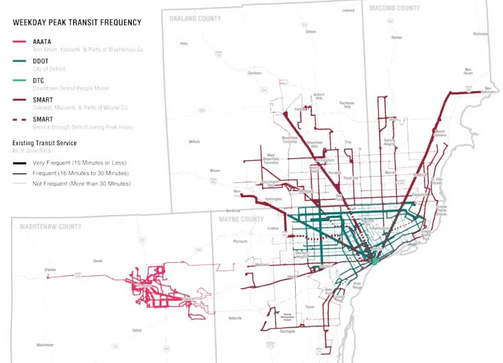 Existing transit service in the region. Crosstown SMART service (brown lines) is especially thin.