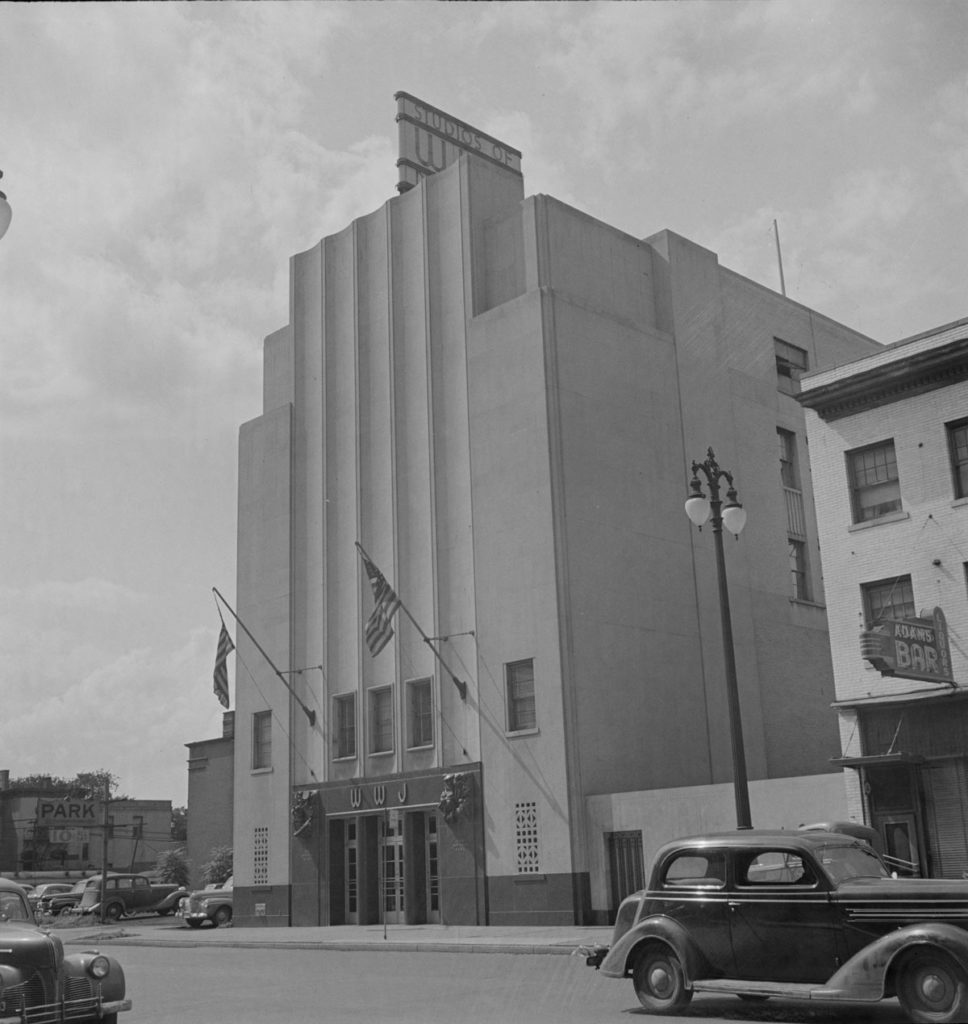 The WWJ building in 1942. It still stands today and is used as a union office. Via Library of Congress.