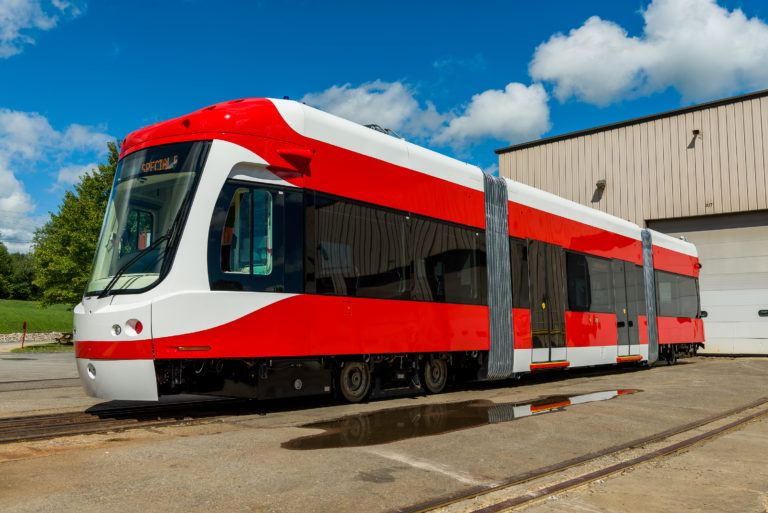 Photo of the new streetcar at the manufacturing plant. Courtesy M1 Rail.