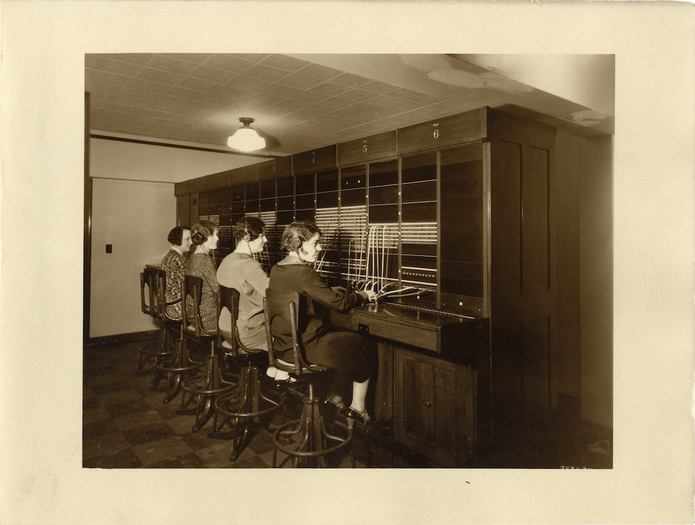 View of telephone operators at switchboard on the 5th floor of the Union Guardian Building. Courtesy of the Burton Historical Collection, Detroit Public Library.