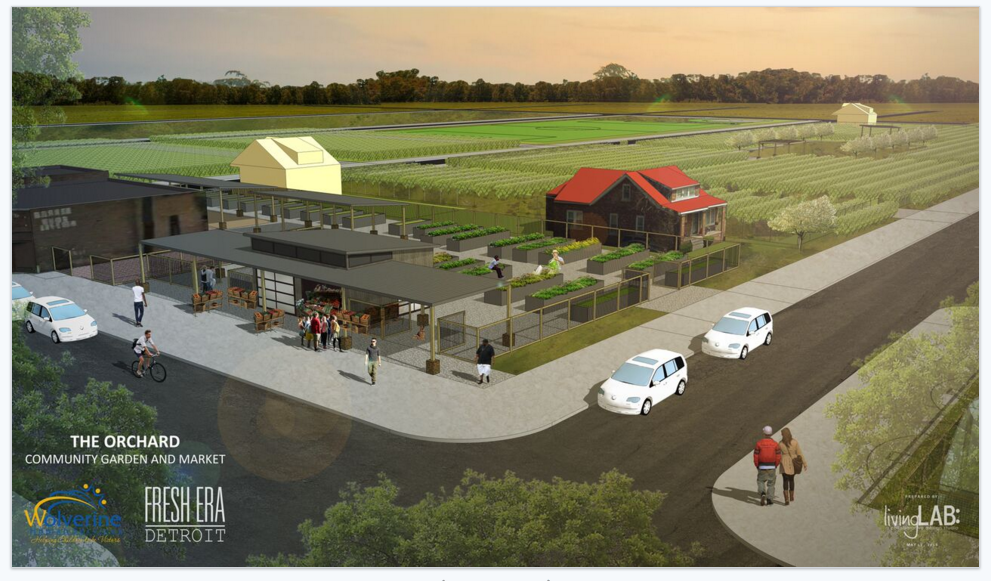Rendering of the project area via Wolverine Human Services.