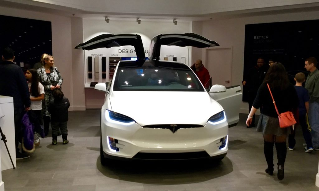 Tesla gallery in Somerset Mall Nordstrom Michigan