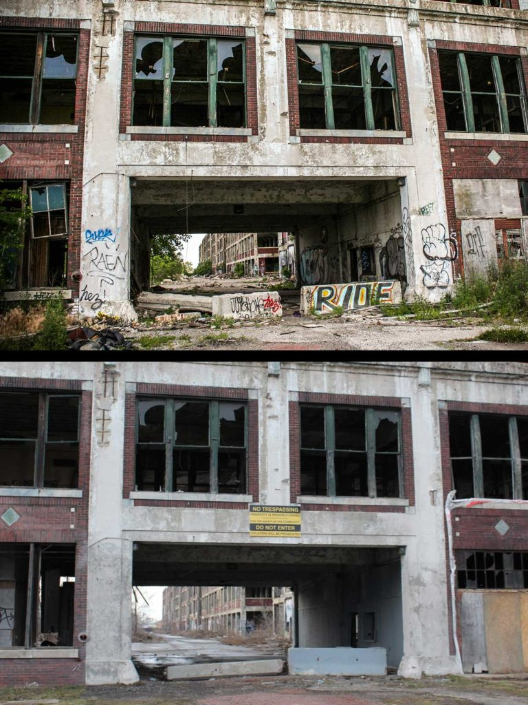 Packard Plant then and now