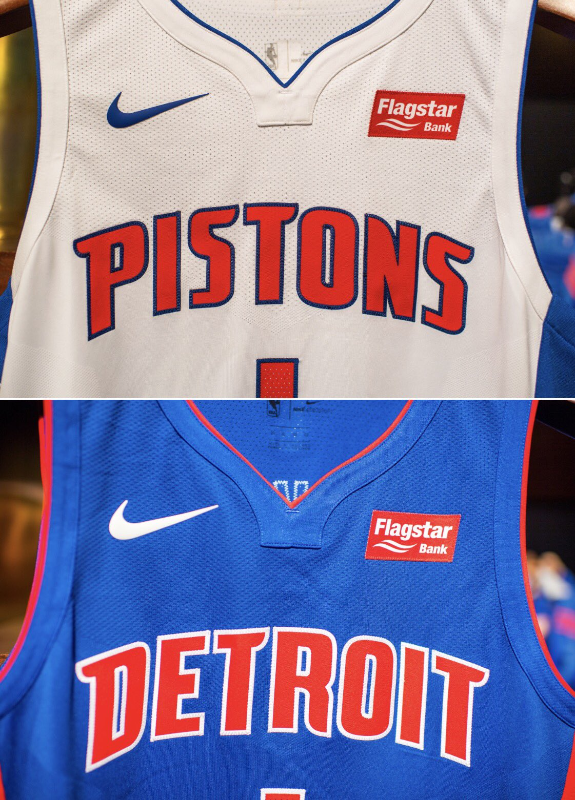 8236f4e82 The Detroit Pistons signed a deal with Flagstar Bank for an undisclosed  amount of money to wear their logo on the right chest of their new Nike  jerseys
