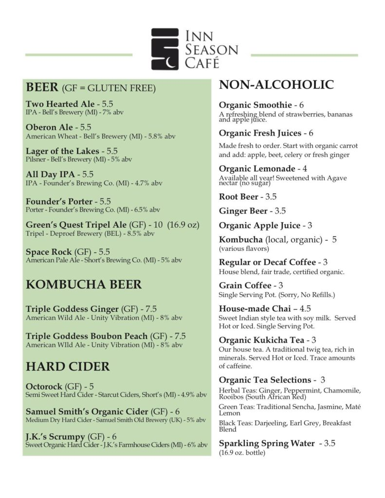 Inn Season Beer Menu