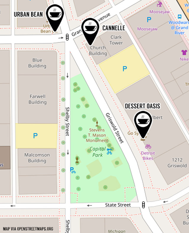 Capitol Park Downtown Detroit Coffee Map